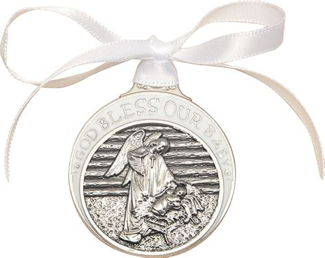 Crib Medals by Pewter Baby In Manger Crib Medal With White Ribbon The