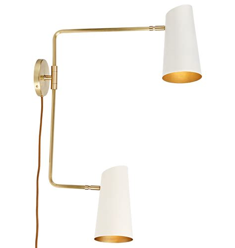 swing arm wall sconce plug in cypress double swing arm sconce plug in rejuvenation