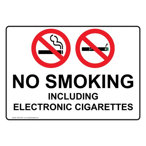 no smoking sign e cigarettes no smoking including electronic cigarettes sign nhe 25182