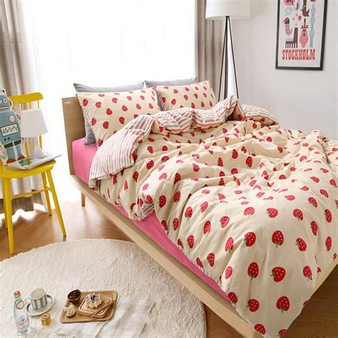 cute twin bed comforters aliexpress com buy cute cartoon strawberry bed set teen