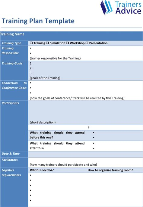 download training plan template for free formxls