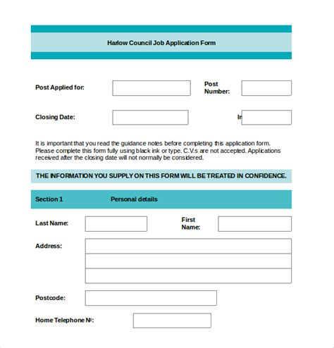 employment application templates 10 free word pdf