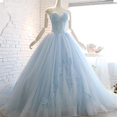 light blue strapless top real image strapless light blue wedding gown top appliques