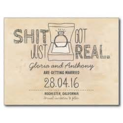 funny save the date postcard with ring haha this is