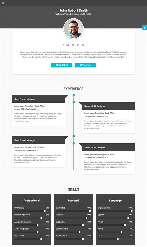 Personal Resume Template by 18 Best Html Resume Templates For Awesome Personal