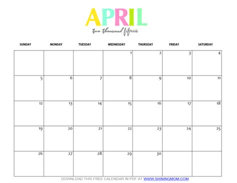 Calendar 2015 Printable April Free Printable April 2015 Calendar By Shining