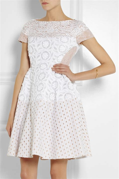 Dres Donita No 8 n 176 21 annetta lace broderie anglaise and embroidered dress in white lyst