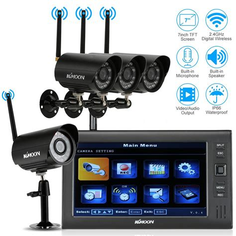 wireless dvr home security system 7 lcd monitor 4pcs