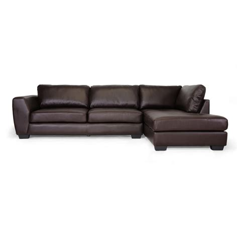 orland brown leather modern sectional sofa set with right