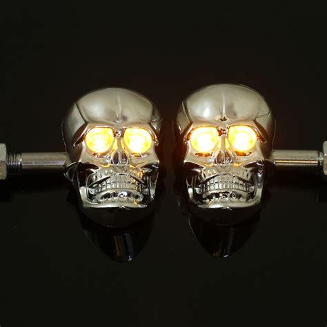 Pair Universal Motorcycle Skeleton Skull Turn Signal Skull Lights