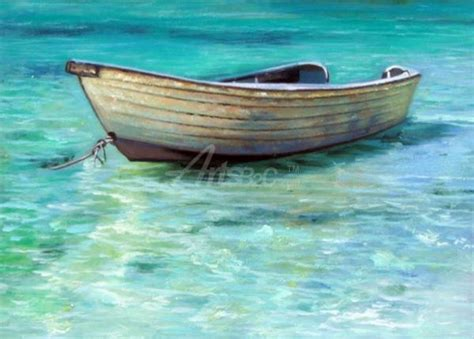 small boat on water small boat above water oil painting op lb4 5 paintings