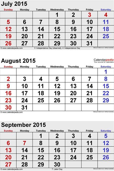 August September 2015 Calendar September 2015 Calendars For Word Excel Pdf