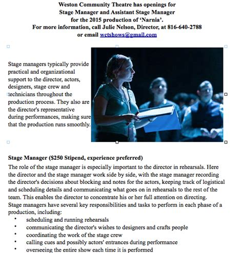 Stage Manager Description by Stage Manager And Assistant Stage Manager Weston Community Theatreweston Community Theatre