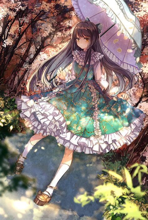 Colors For The Bedroom original anime girl umbrella cute beautiful dress long