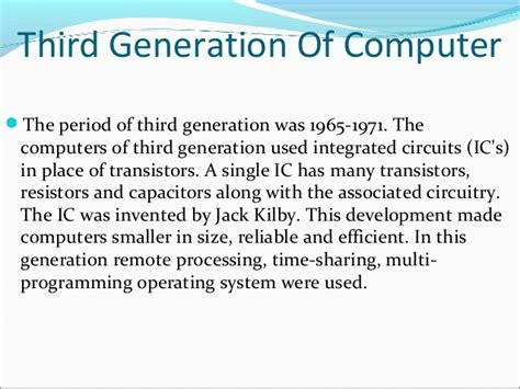 third generation computers used integrated circuits evolution of computers