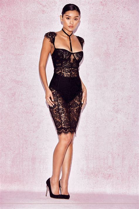 clothing bodycon dresses hermosa black lace collar