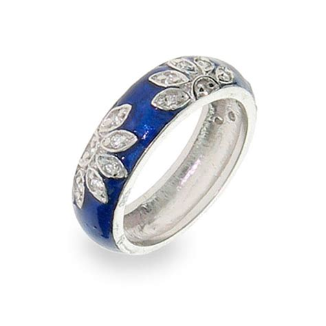 sterling silver blue enamel cz ring s addiction 174
