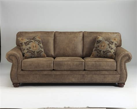 Ashley 3190138 Larkinhurst Earth Tone Leather Look Fabric Leather With Fabric Sofas