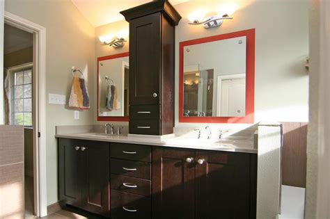 bathroom her cabinet his and her sinks with linen tower powder room