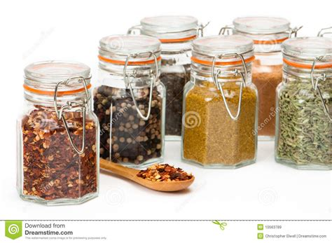 Herb And Spice Containers Glass Spice Jars Royalty Free Stock Images Image 10563789