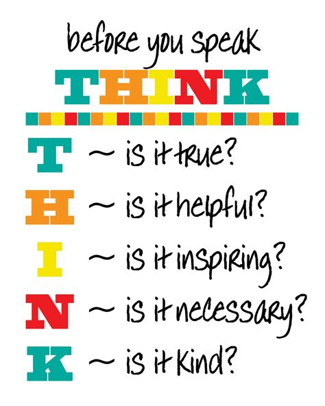 printable think poster classroom poster instant download before you speak think