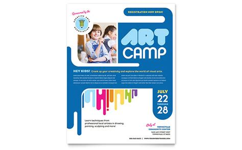 Kids Art C Flyer Template Word Publisher Flyer Template Microsoft