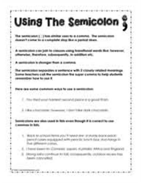 Semicolons Worksheet by Semicolon Worksheets