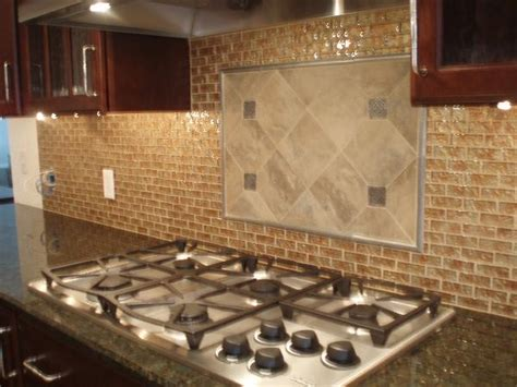 Granite Countertops With Glass Tile Backsplash by Cherry Cabinets Traditional Kitchen