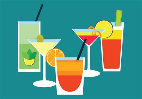 cocktail icon vector cocktail drinks flat vector free vector