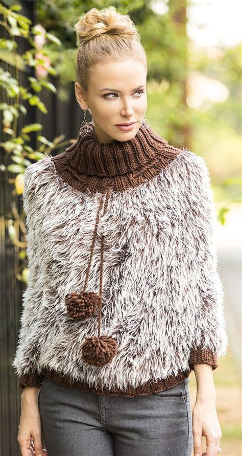knitting pattern    prowl poncho  fun fur poncho  universal yarn features