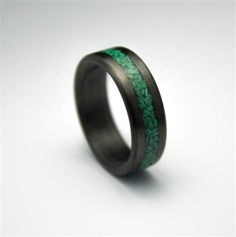 Handmade Mens Wedding Bands - carbon fiber ring with malachite inlay s wedding band