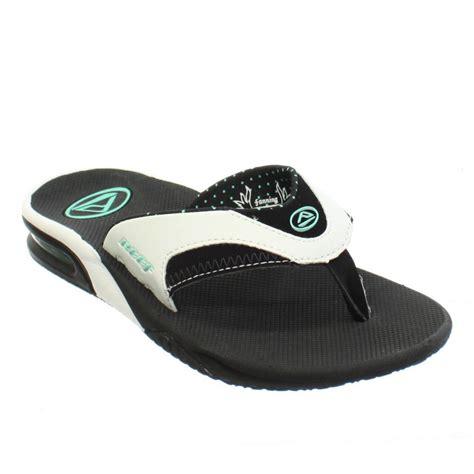 reef fanning flip flops womens womens reef fanning black white aqua sandals surf beach