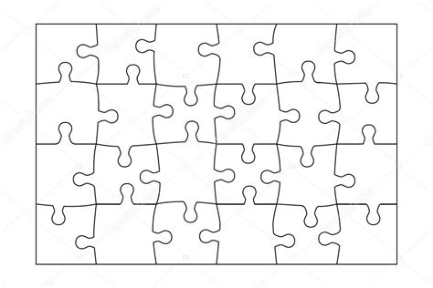 jigsaw puzzle template 24 pieces vector ストックベクター