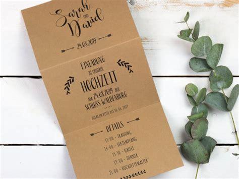 Hochzeitseinladung Kraftpapier by Einladungskarten Zur Hochzeit Aus Kraftpapier Bonbon Villa