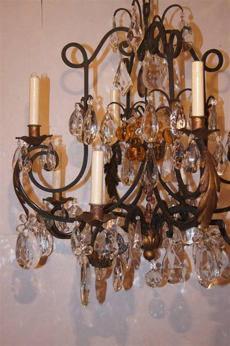 Wrought Iron Chandelier With Crystals Wrought Iron And Crystals Chandelier For Sale At 1stdibs