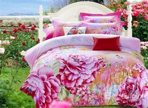 pink peonies bedroom luxury pink peony print cotton 4 piece 3d duvet cover sets