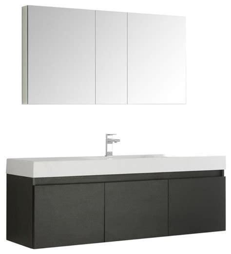 modern wall hung vanities mezzo 60 quot black wall hung single sink modern bathroom