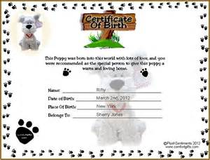 free puppy birth certificate template each child fill in the birth certificate for their