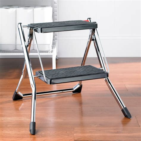 Step Stool Foldable by Chrome Slim Folding Step Stool The Container Store