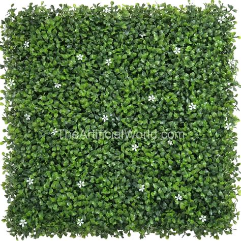 faux boxwood panel with small white flowers artificial