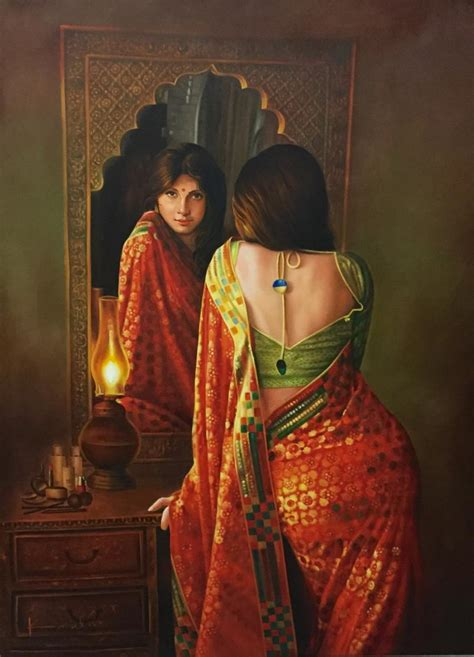 biography of indian artist lady in the mirror by artist kamal rao oil paintings