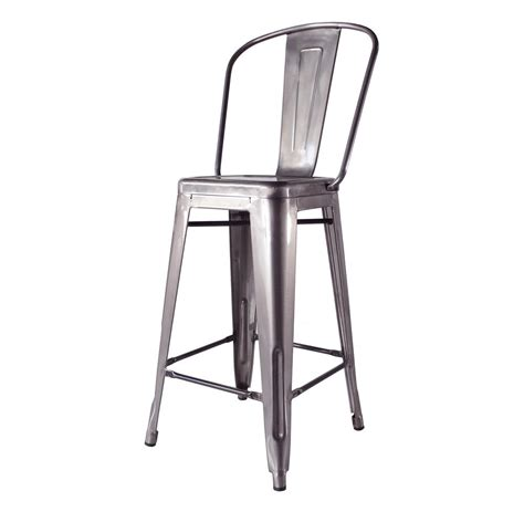 Metal Bar Stool With Back Bouchon Industrial Steel With Back Cafe Counter Stool Set Of 4 Kathy Kuo Home