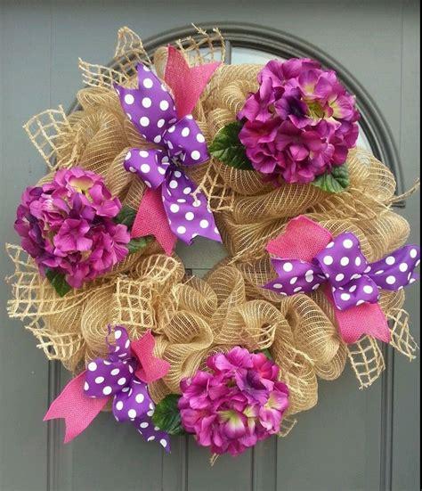22000 Pink Flower Mesh handmade burlap deco mesh welcome pink purple flowers chevron bow wreath ebay