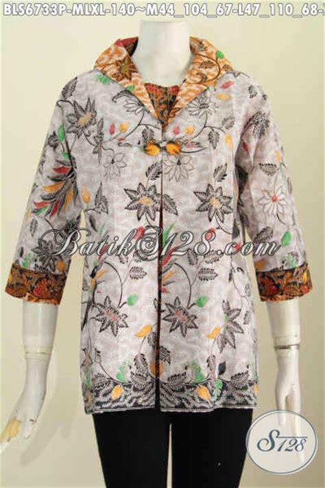 Blus Batik B21117019 M L Xl Blus Kerja Batik Atasan Cewek Batik Murah batik blus motif bunga model kombinasi jas pakaian batik terkini untuk kerja dan rapat
