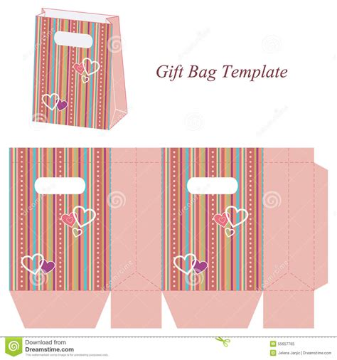 Gift Bag Cards For Baby Template by Pink Gift Bag Template With Colorful Stripes And Hearts