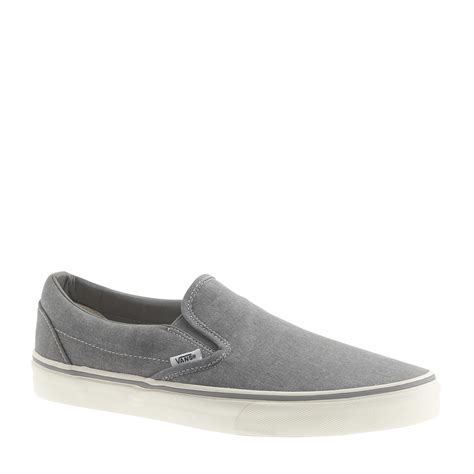 j crew mens sneakers j crew vans washed canvas classic slip on sneakers in