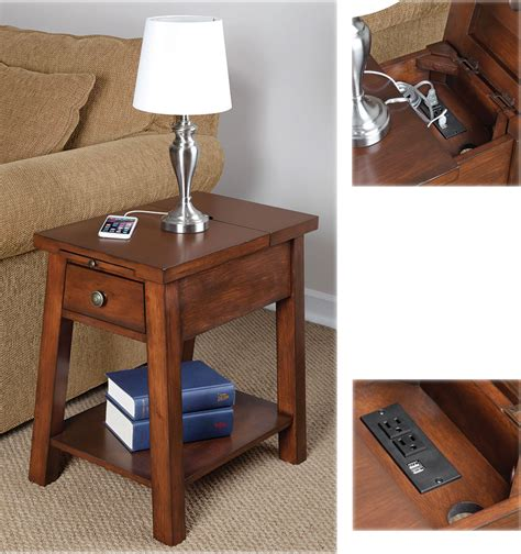 side table with usb end table with usb ports home ideas