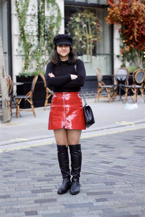 patent mini skirt and a winter staple ootd fashion