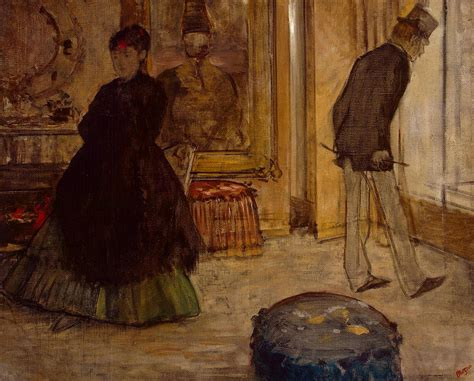 Degas Interior by Interior With Two Figures Painting By Edgar Degas