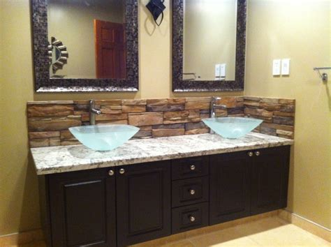 bathroom modern tile ideas backsplash: bathroom backsplash mediterranean bathroom calgary by kodiak
